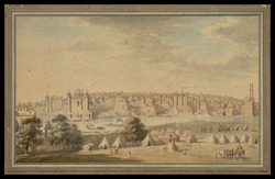A prospect view of the city of Benares spread out along the bank of the Ganges from Shivala Ghat to Aurangzeb's mosque,